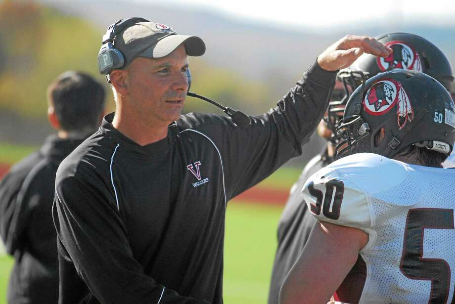 Valley Regional/Old Lyme defensive coordinator Paul Ginter will be moving to Martha's Vineyard after 17 seasons with the Warriors. Photo: Jimmy Zanor — Middletown Press