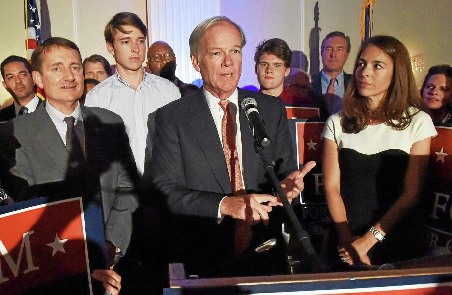 Republican gubernatorial candidate Tom Foley speaks to supporters at the Villa Rosa Pontelandolfo Club in Waterbury Tuesday night after winning the Republican primary. Photo: Peter Hvizdak — New Haven Register    / ©Peter Hvizdak /  New Haven Register