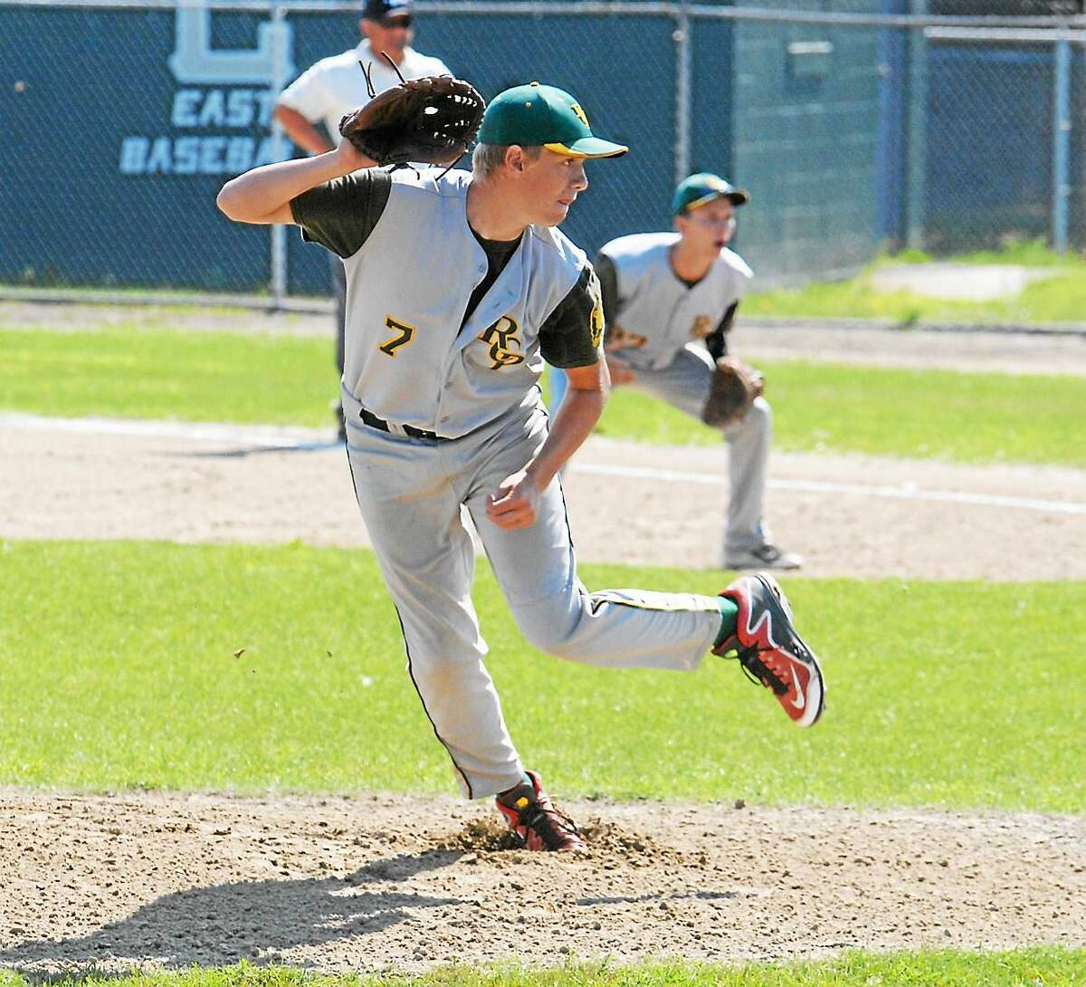 Jimmy Zanor ó The Middletown Press RCP's Matt Wyslick tossed a complete game to lift Post 105 past Riverside (R.I.) on Friday at Cranston Stadium.