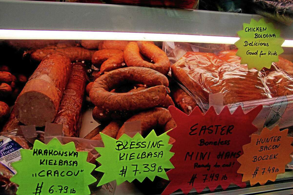 Some special meats for Easter displayed inside the case at Fil's Polish Deli.