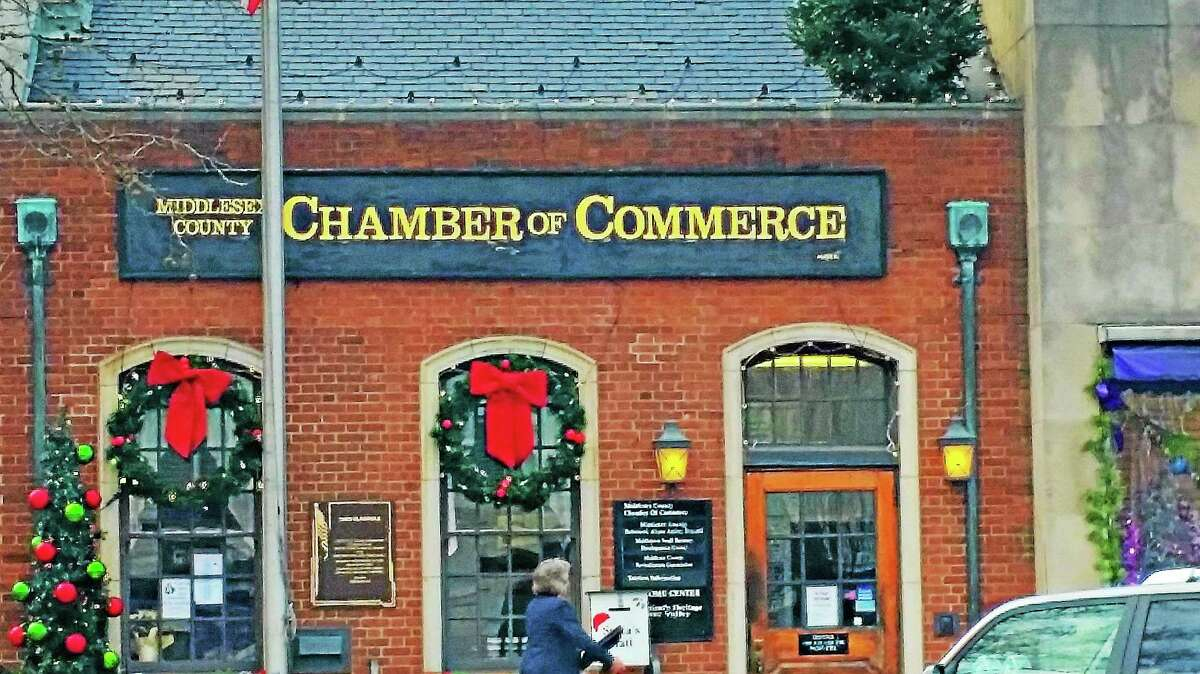 Holiday decorations are on display at the Middlesex County Chamber of Commerce, along with many other Main Street businesses downtown.