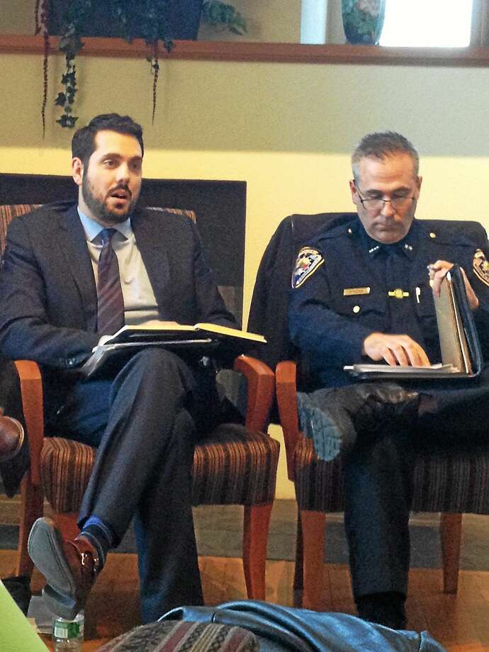 Justin Carbonella, Middletown Youth Services Bureau coordinator, and Middletown Police Chief William McKenna, speak at a panel discussion on several bills advocated by the Connecticut ACLU Wednesday night. Photo: Brian Zahn — The Middletown Press