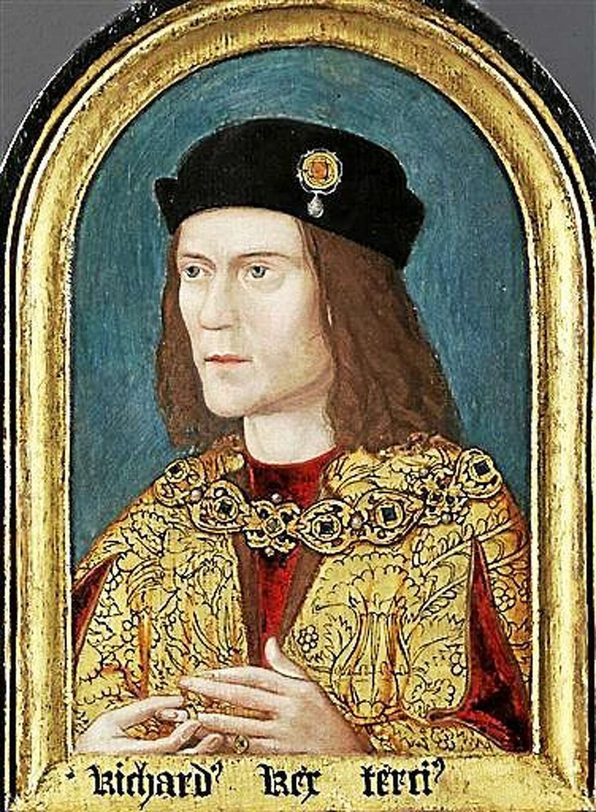 FILE- This is an undated file photo released by the University of Leicester, England, showing a portrait of Britain's King Richard II who's skeletal remains were found underneath a car park in Leicester, England, in September 2012, after being missing for around 500 years. According to research published Tuesday Dec. 2, 2014, in the Nature Communications journal, scientists compared the skeleton?s DNA to predict eye and hair color of the long lost king. However samples from living relatives found no matches, a discovery that could throw the nobility of some royal descendants into question, including Henry V, Henry VI and the entire Tudor royal dynasty. But Kevin Schurer, pro vice-chancellor of the University of Leicester, said England?s current royal family does not claim Richard III as a relative and shouldn?t be worried about the legitimacy of their royal line. (AP Photo/Society Of Antiquities Of London via University of Leicester, FILE)