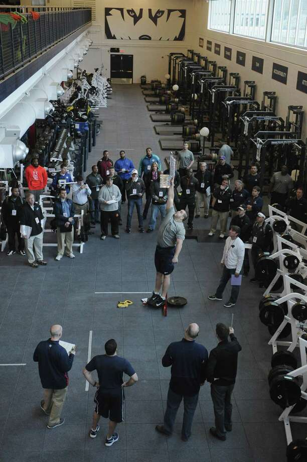 The UConn pro day took place on Tuesday in Storrs. Photo: Jessica Hill — The Associated Press  / FR125654 AP