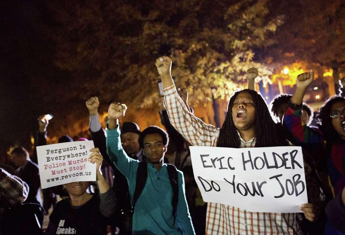 Protesters chant outside Ebenezer Baptist Church in Atlanta.