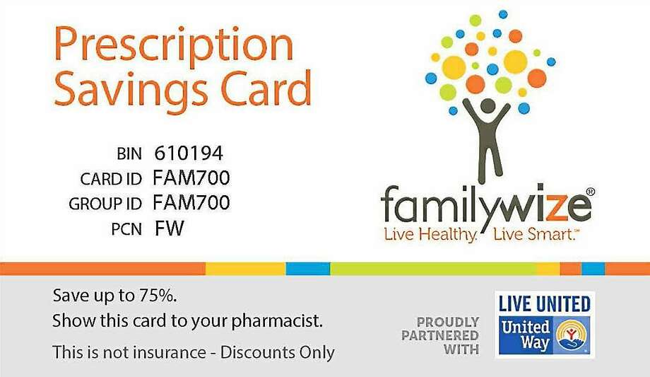 The FamilyWize prescription card is like a coupon for savings on medications and accepted at many locations in Middlesex County. Photo: Middlesex United Way