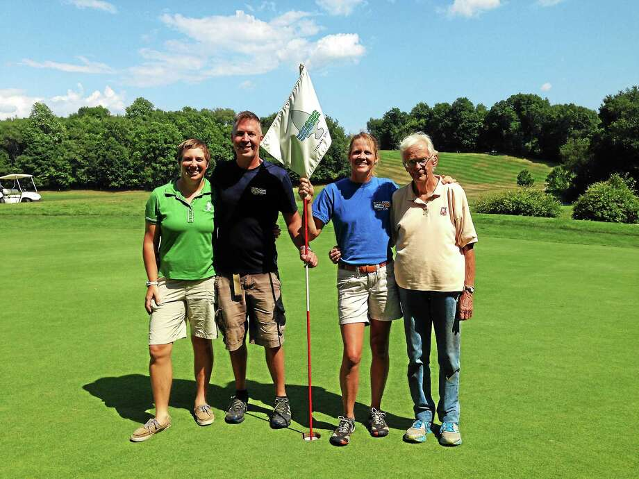 The team of Indian Spring Golf Course in Middlefield, Kathy Weber, John Parmelee, Jen Parmelee and Jane Parmelee, are celebrating 50 years in business. Photo: Kaitlyn Schroyer - The Middletown Press