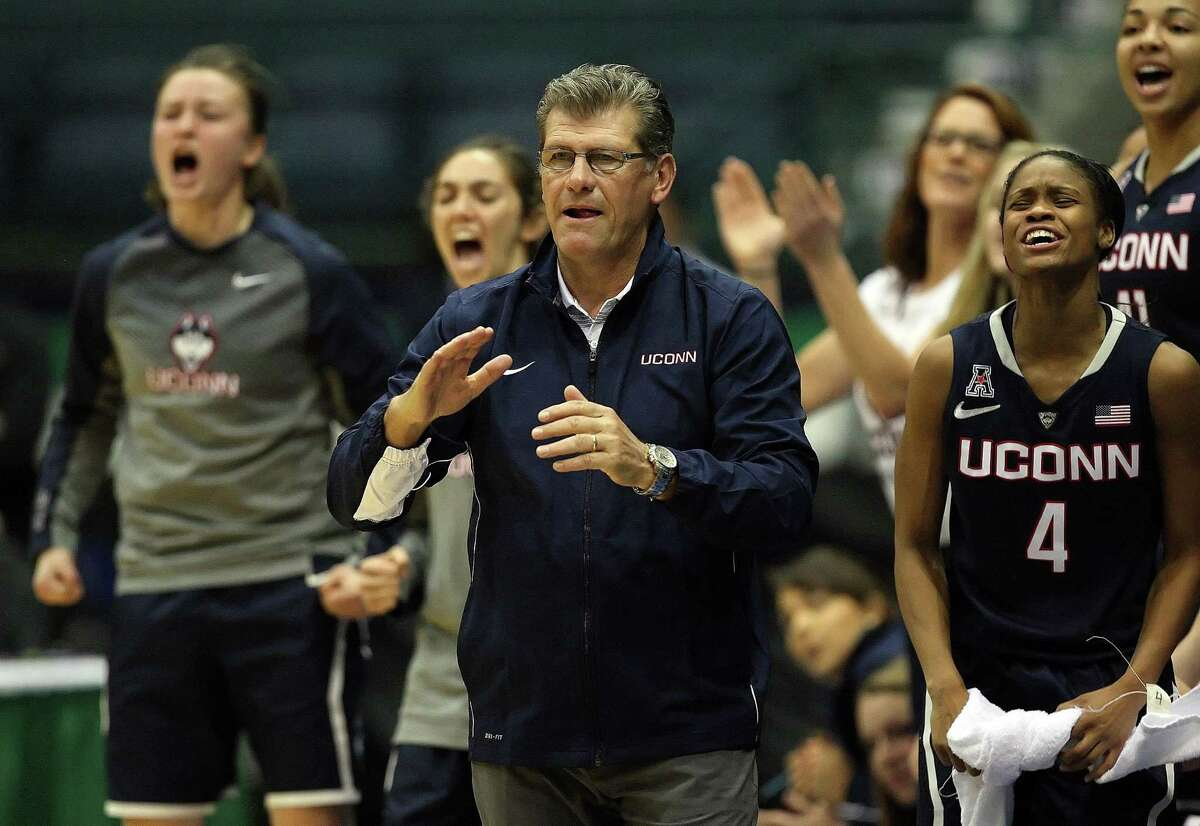 UConn head coach Geno Auriemma celebrates a score against Vanderbilt at the Gulf Coast Showcase tournament on Saturday.