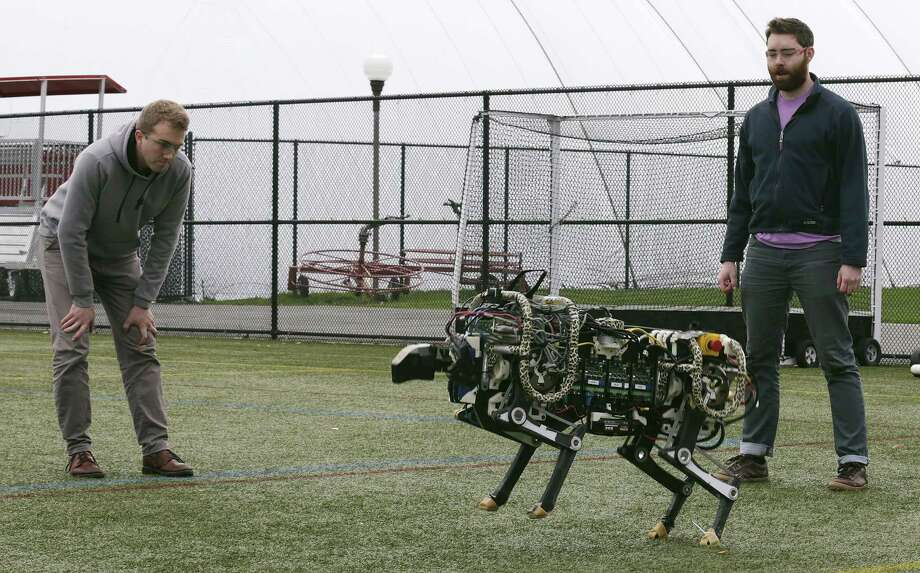 Researchers Randall Briggs, left, and Will Bosworth monitor a robotic cheetah during a test run on an athletic field Oct. 24 at the Massachusetts Institute of Technology in Cambridge, Mass. MIT scientists said the robot, modeled after the fastest land animal, may have real-world applications, including for prosthetic legs. Photo: Associated Press  / AP