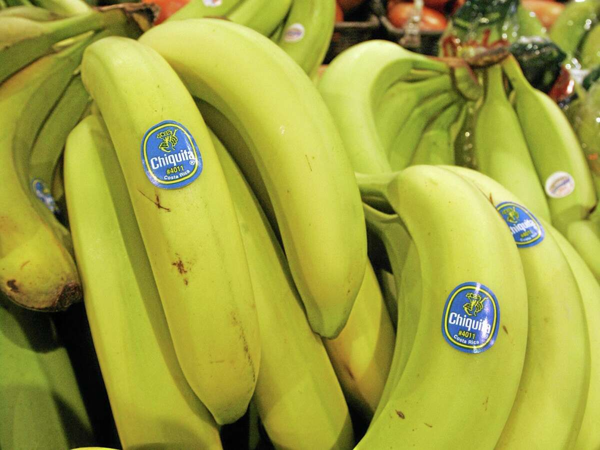 Chiquita bananas are on display at a grocery store in Bainbridge, Ohio.