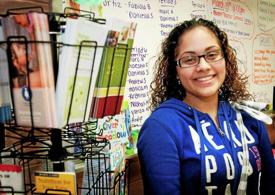 Kristina Cedeno, 18, a student at New Britian High School, has an 11-month-old daughter. Photo: Melanie Stengel — New Haven Register     / Melanie Stengel