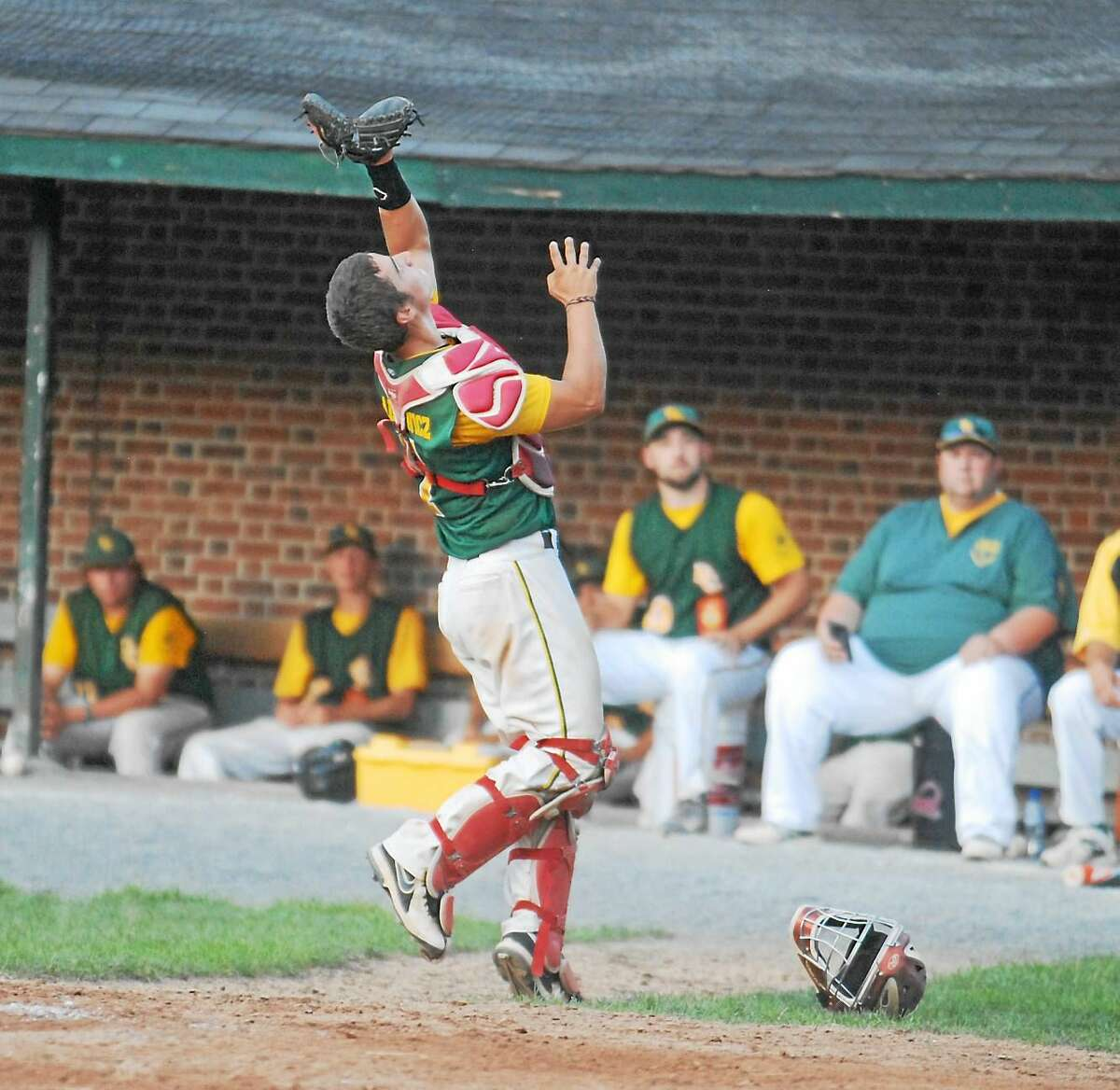 Jimmy Zanor - The Middletown Press RCP catcher Kevin Radziewicz gets ready to make the catch Thursday night at Muzzy Field.