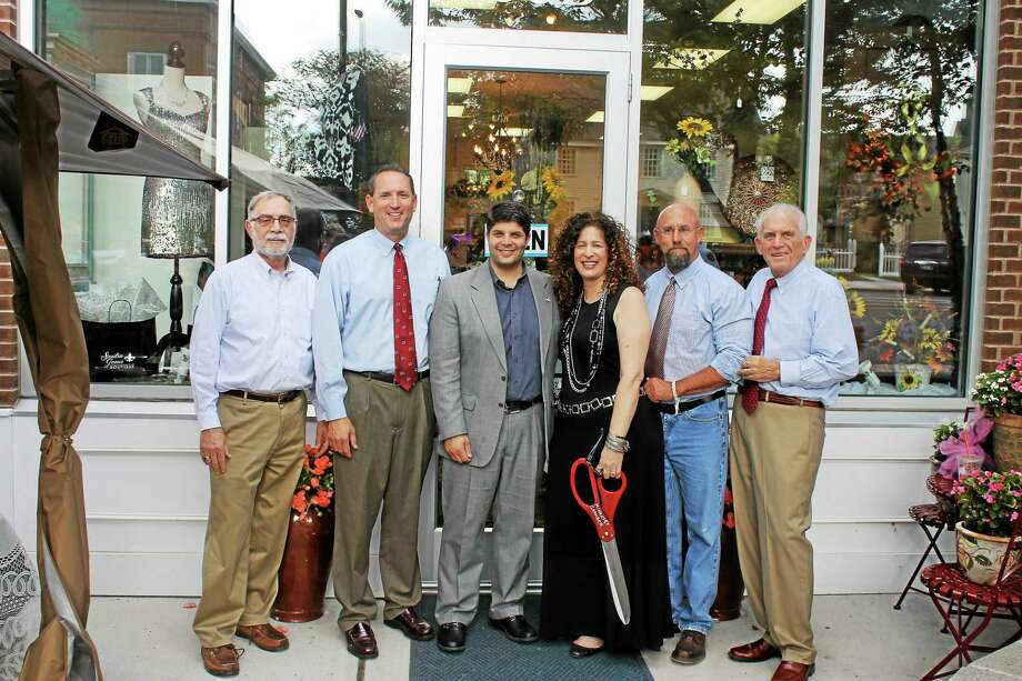 Middletown Deputy Mayor Bob Santangelo, state Sen. Paul Doyle, D-9, Mayor Dan Drew, Sandra Russo-Driska, owner of Sandra James Boutique, Chamber CBB Chairman Phil Ouellette and Chamber President Larry McHugh are shown. Photo: Submitted Photo