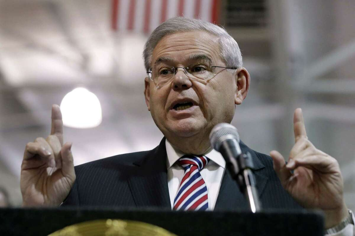 FILE - In this March 23, 2015 file photo, Sen. Robert Menendez, D-NJ speaks in Garwood, N.J. Menendez has been indicted on federal corruption charges.