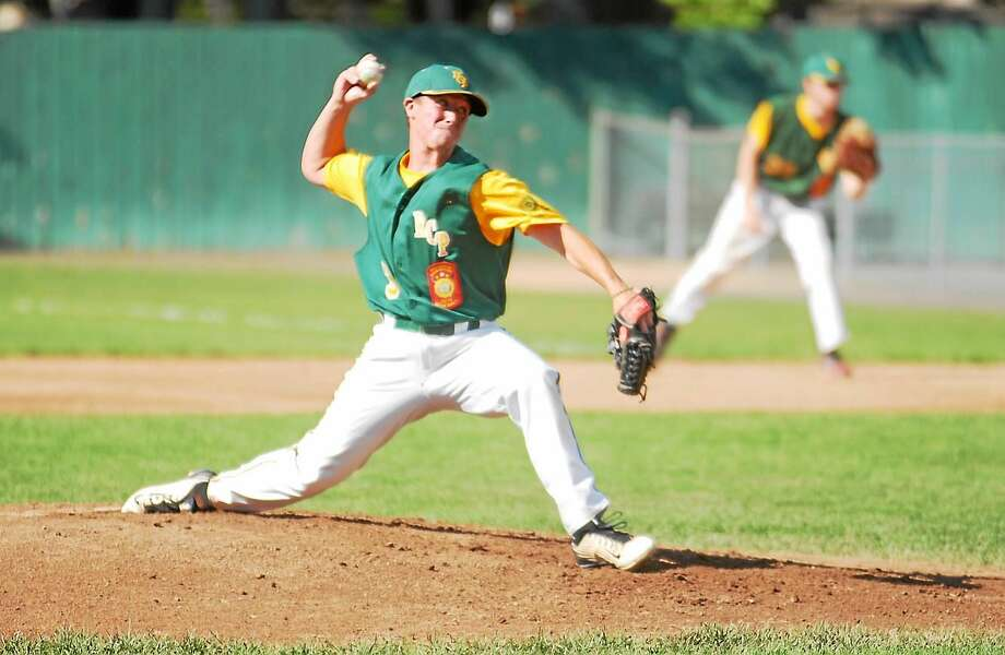 Jimmy Zanor - Middletown Press RCP's Cole Ogorzalek delivers a pitch against Colchester (VT) at Muzzy Field on Wednesday. Photo: Journal Register Co.