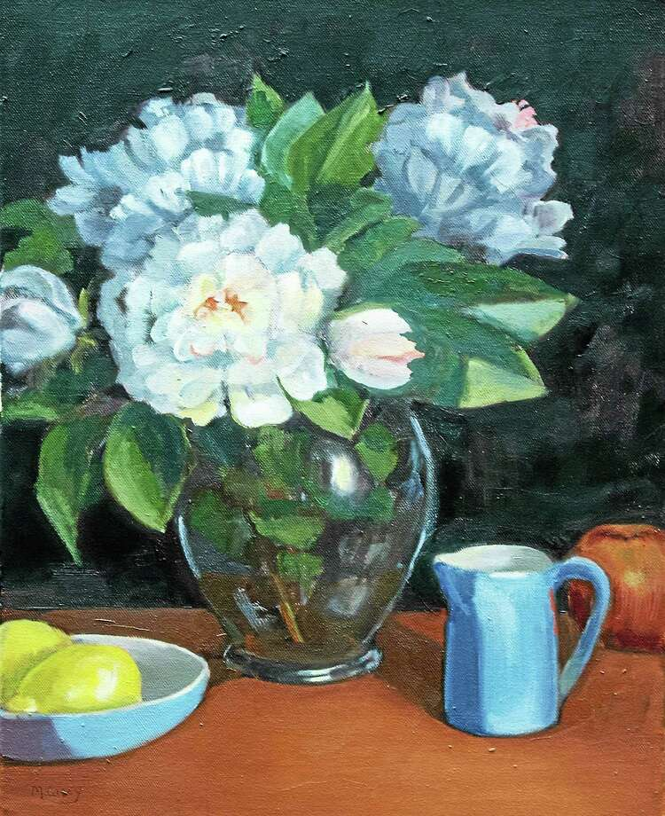 """Image courtesy of the artist """"Peonies in Glass Vase,"""" an oil painting by Marge Casey. Photo: Journal Register Co."""