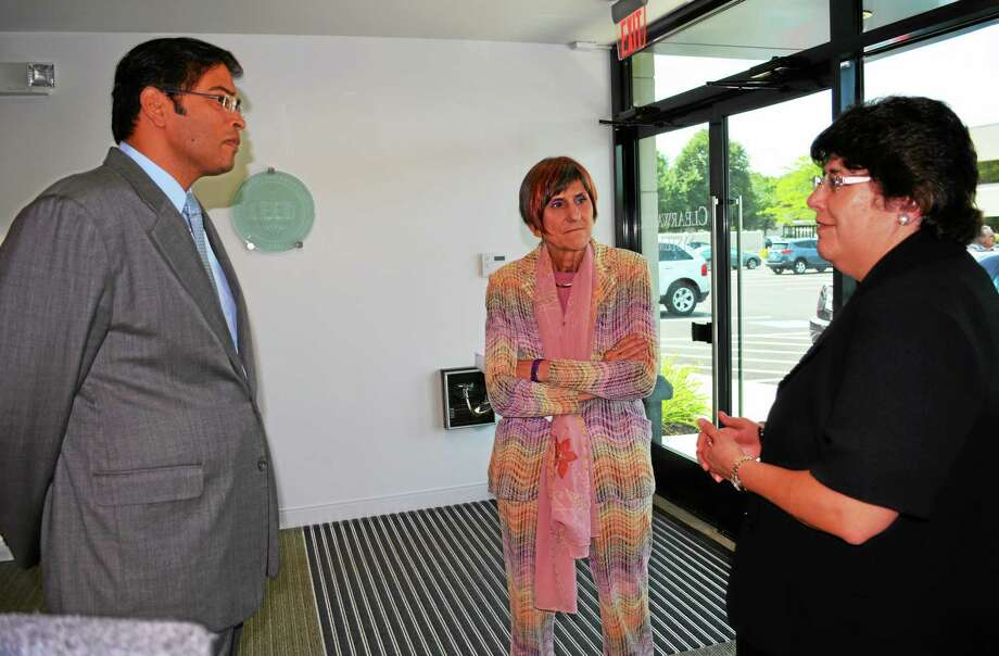 U.S. Congresswoman Rosa DeLauro spoke in favor of legislation reauthorizing the Export-Import Bank before its charter expires in September at Clearwater Systems Corp. in Middletown Friday. Photo: Cassandra Day — The Middletown Press