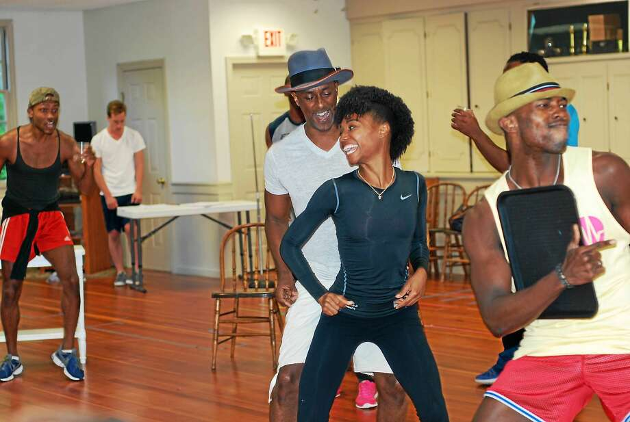 "Photos courtesy of Ivoryton Playhouse Taavon Gamble, Michael Sullivan, Teren Carter, Mya Rose and Kevin Moeti rehearse for ""Memphis,"" running Aug. 5-30 at the Ivoryton Playhouse. Photo: Journal Register Co."