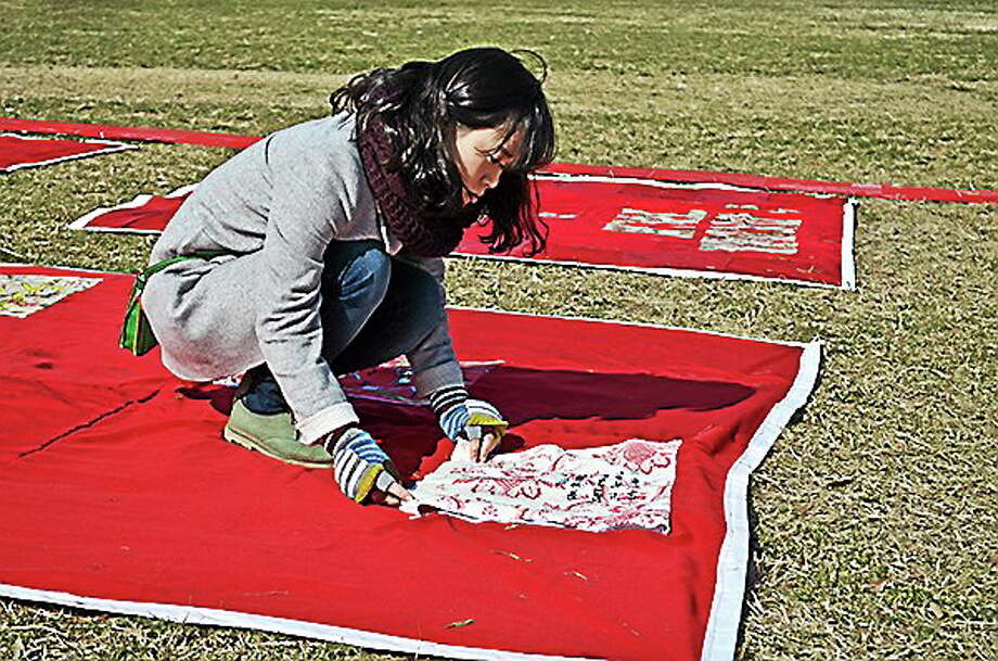 The Monument Quilt, displaying stories of survivors of sexual violence, will be at Wesleyan University in Middletown on Sept. 2 from 3 to 7 p.m. at Foss Hill. Photo: Submitted Photo