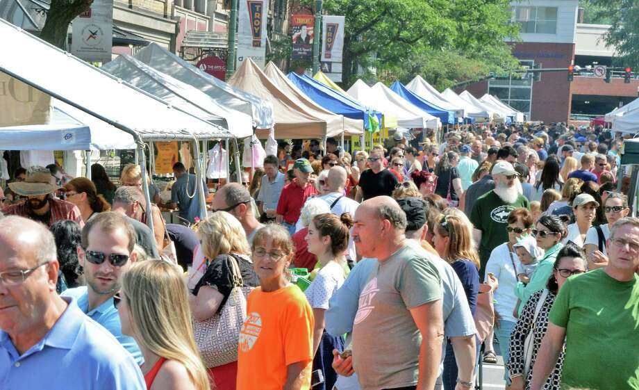 Shoppers crowd River Street for the Troy Farmers Market Saturday August 12, 2017 in Troy, NY.  (John Carl D'Annibale / Times Union) Photo: John Carl D'Annibale