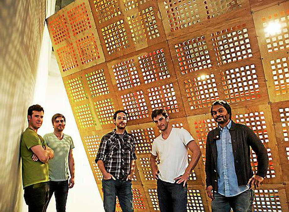 Submitted photo - Mattatuck Museum Rahul Alexander, Jonathan Brand, Adam Brent, Ryan Roa and Travis LeRoy Southworth - members of BroLab in front of  their project, DeadLift, which opens at the Mattatuck Museum May 2. Photo: Journal Register Co.