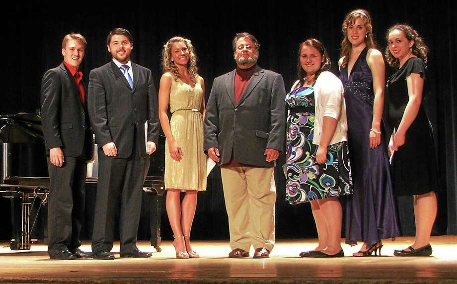 (Photo caption: Alan Mann, center, with the winners of the 2012 Amici Vocal Competition, Student Division) Photo: Journal Register Co.