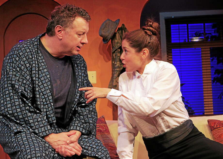 "Photo by Ann Hudson Mike Boland and Siobhan Fitzgerald in a scene from ""I Ought To Be In Pictures"" at the Ivoryton Playhouse. Photo: Journal Register Co."