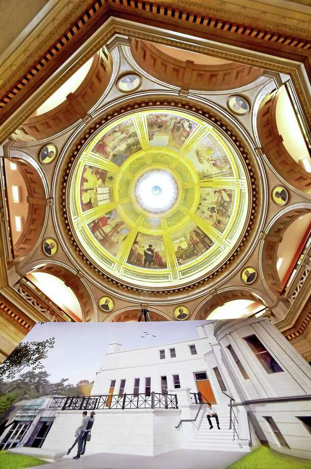 (Peter Hvizdak - Hearst Connecticut Media)   Branford, Connecticut: July 28, 2017. The Blackstone Library rotunda with an architectural rendering of a planned renovation to the new entryway to the library. / New Haven Register