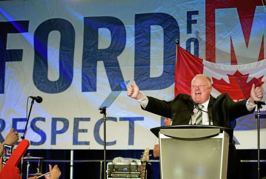 Toronto Mayor Rob Ford reacts as he speaks to his supporters during his re-election campaign launch in Toronto, on Thursday, April 17, 2014. Photo: (AP Photo/The Canadian Press, Nathan Denette) / The Canadian Press