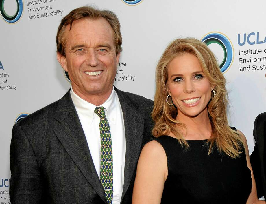 FILE - This March 21, 2014 file photo shows actress Cheryl Hines, right, posing with her fiance Robert F. Kennedy Jr., at the UCLA Institute of the Environment and Sustainability's An Evening of Environmental Excellence in Beverly Hills, Calif.  Kennedy Jr. and  Hines are planning to wed at the Kennedy compound on Cape Cod. Kennedy's cousin, former Rep. Patrick Kennedy, says the wedding is planned for Saturday afternoon, Aug. 2, at Ethel Kennedy's home in Hyannis Port, Mass. (Photo by Chris Pizzello/Invision/AP, File) Photo: Chris Pizzello/Invision/AP / Invision