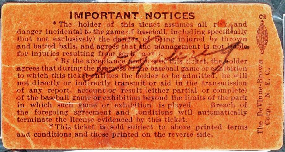 FILE- In this undated file photo provided by Heritage Auctions, a Yankee Stadium ticket stub signed by Lou Gehrig on July 4, 1939, the day he retired from baseball, is shown. The ticket was sold at an auction by Heritage Auctions of Dallas, Texas on Thursday, July 31, 2014, for $95,600. (AP Photo/Heritage Auctions, File) Photo: AP / Heritage Auctions