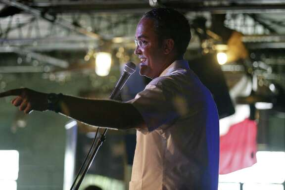 U.S. Rep. Will Hurd, R-Helotes, speaks during the final stop of his third annual DC2DQ town hall meetings held Saturday at John T. Floore's Country Store.