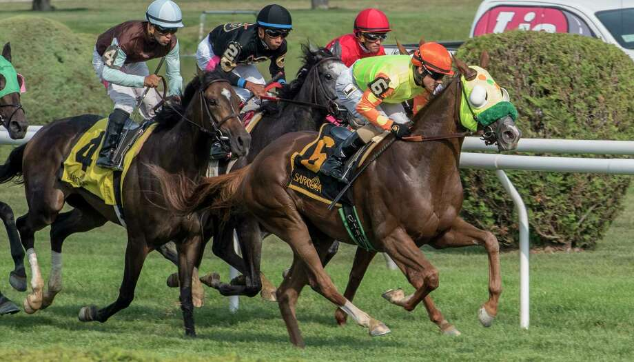 """#6 Lover's Key with jockey Junior Alvarado in the saddle leads the field from the gate and never gave up the lead to win the 15th running of The New York Stallion Series """"State of Liberty Division"""" at the Saratoga Race Course Thursday Aug. 10, 2017  in Saratoga Springs, N.Y.  (Skip Dickstein/Times Union) Photo: SKIP DICKSTEIN"""
