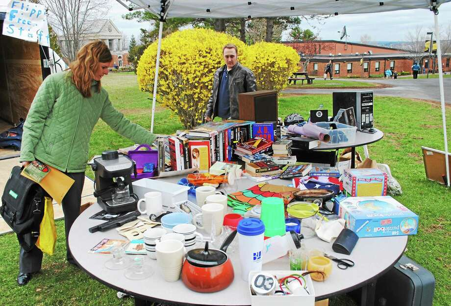 Viktoria Sundqvist - The Middletown Press Flippin' Free Stuff, where students and staff could donate and pick up items completely free, was offered at Middlesex Community College in Middletown Wednesday in celebration of Earth Week, the college's extended Earth Day celebration. On Thursday, an electronic recycling event will be held from 10 a.m. to 3 p.m. on campus and the Connecticut Campus Sustainability Conference will be held Friday. Photo: Viktoria Sundqvist — The Middletown Press