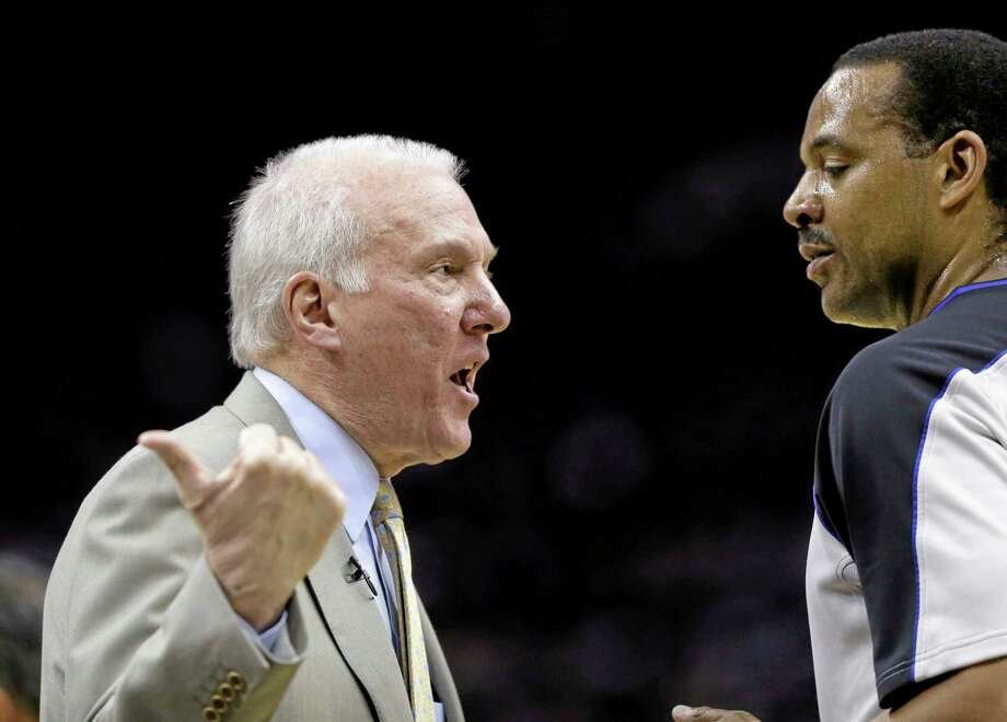 San Antonio Spurs coach Gregg Popovich on Tuesday was named the NBA coach of the year for a third time. Photo: Eric Gay — The Associated Press  / AP