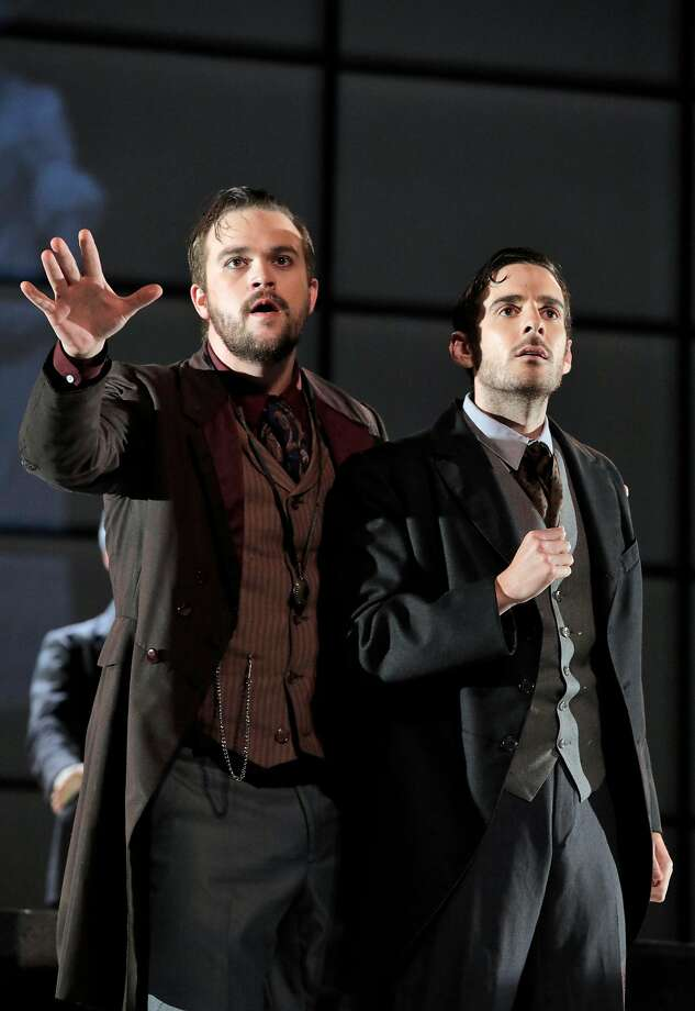 "Samuel Levine (left), Ryan Bradford in ""Frankenstein."" Photo: Cory Weaver"