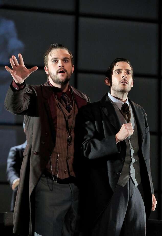"Samuel Levine (left), Ryan Bradford in ""Frankenstein."" Photo: Cory Weaver"