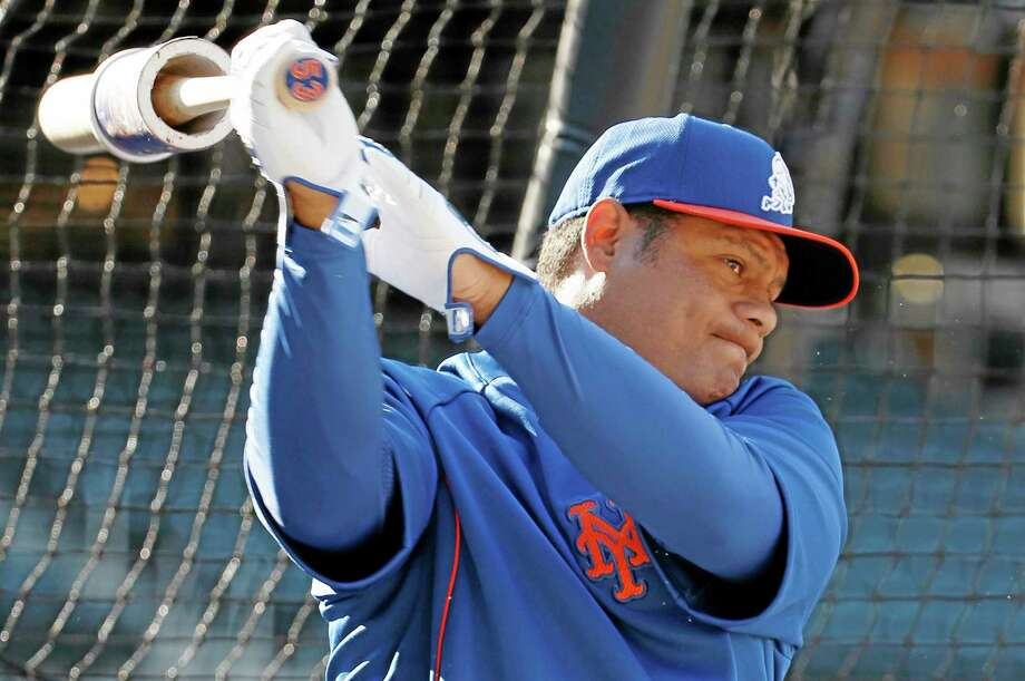 Veteran Bobby Abreu swings his bat beside the New York Mets batting cage before Monday's game against the St. Louis Cardinals in New York. Photo: Kathy Willens — The Associated Press  / AP