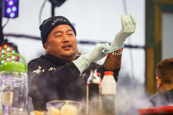 Chef Roy Choi demoing a marinated rib recipe on the GastroMagic Stage during the 10th annual Outside Lands Festival in Golden Gate Park in San Francisco on Saturday, August 12, 2017.