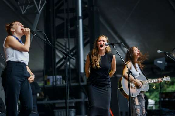 Joseph, the sister act Allison,left,  Meegan, middle, and Natalie Closner, right, performs on the Sutro Stage during the 10th annual Outside Lands Festival in Golden Gate Park in San Francisco on Saturday, August 12, 2017.
