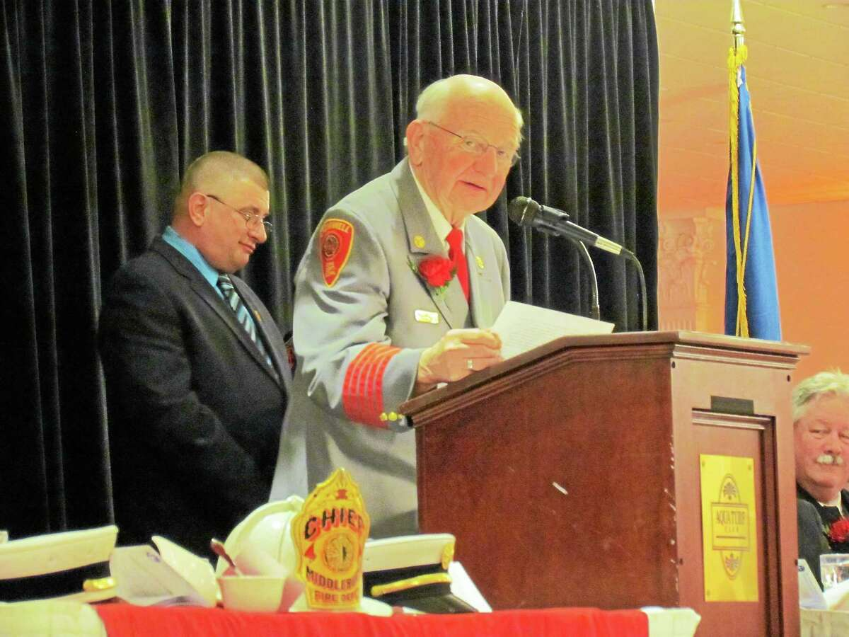 Krissy Mantel - Special to the Press Cromwell firefighter Don Swanson was recently inducted into the Connecticut Firefighters Hall of Fame.
