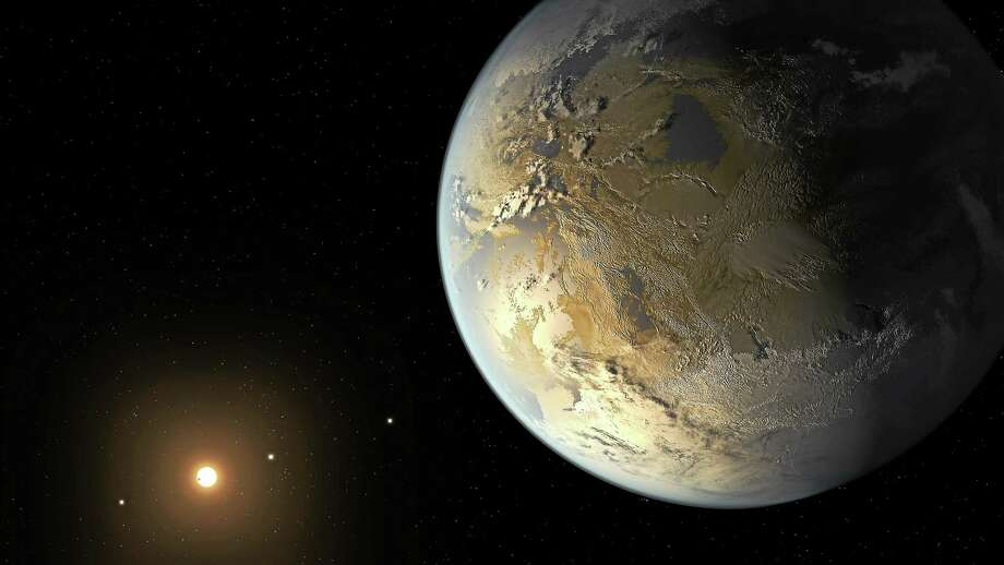 This artist's rendering provided by NASA on Thursday, April 17, 2014 shows an Earth-sized planet dubbed Kepler-186f orbiting a star 500 light-years from Earth. Astronomers say the planet may hold water on its surface and is the best candidate yet of a habitable planet in the ongoing search for an Earth twin. (AP Photo/NASA Ames, SETI Institute, JPL-Caltech, T. Pyle) Photo: AP / NASA Ames, SETI Institute, JPL-Caltech