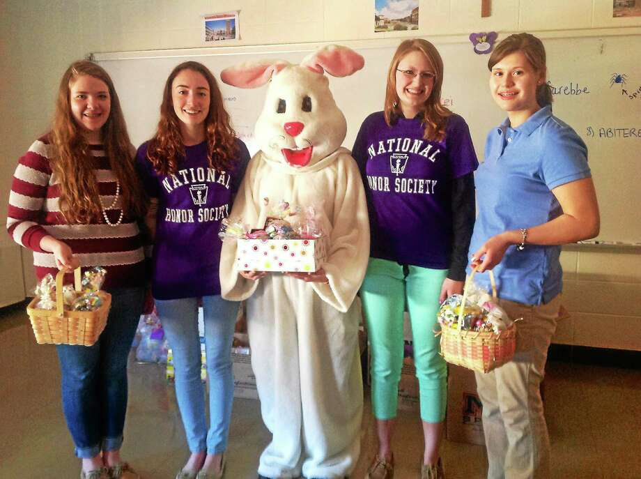 "Mercy High School students were able to assemble 956 ""Bunny Bundles"" to distribute to various organizations. Photo: Kaitlyn Schroyer — The Middletown Press"