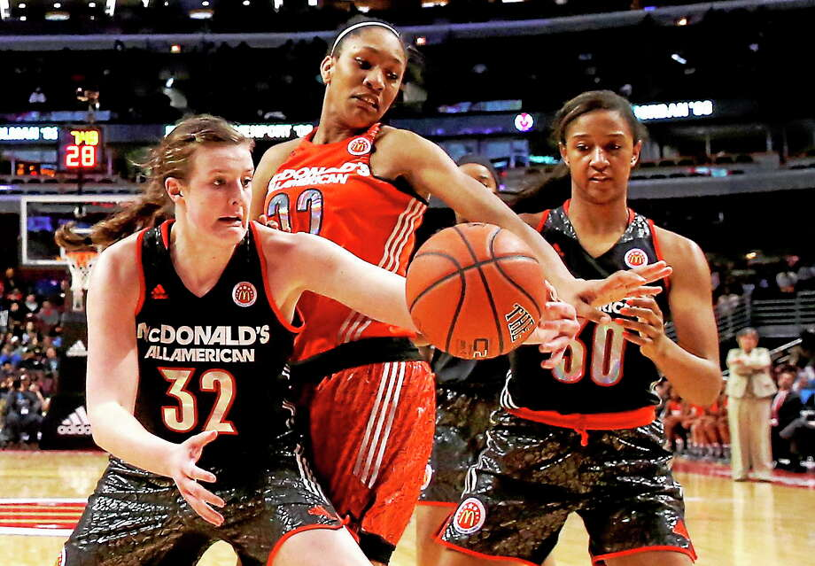 A'ja Wilson competes during the April 2 McDonald's All-American game in Chicago. On Wednesday, Wilson committed to South Carolina. Photo: Charles Rex Arbogast — The Associated Press  / AP