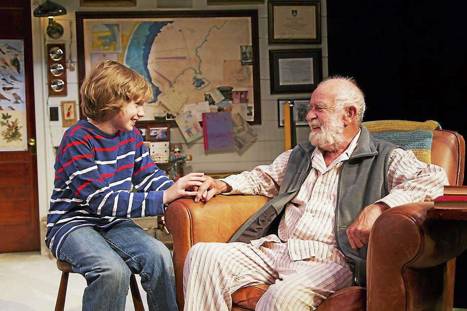 """Submitted photo - Long Wharf Theater Come witness the energetic interactions of a master, playwright and lead actor in """"Shadow of the Hummingbird"""" Athol Fugard, as he gives life lessons on alternating performances to amazing twin fifth graders Aidan and Dermot McMillan of Middletown as Boba. Photo: Journal Register Co."""