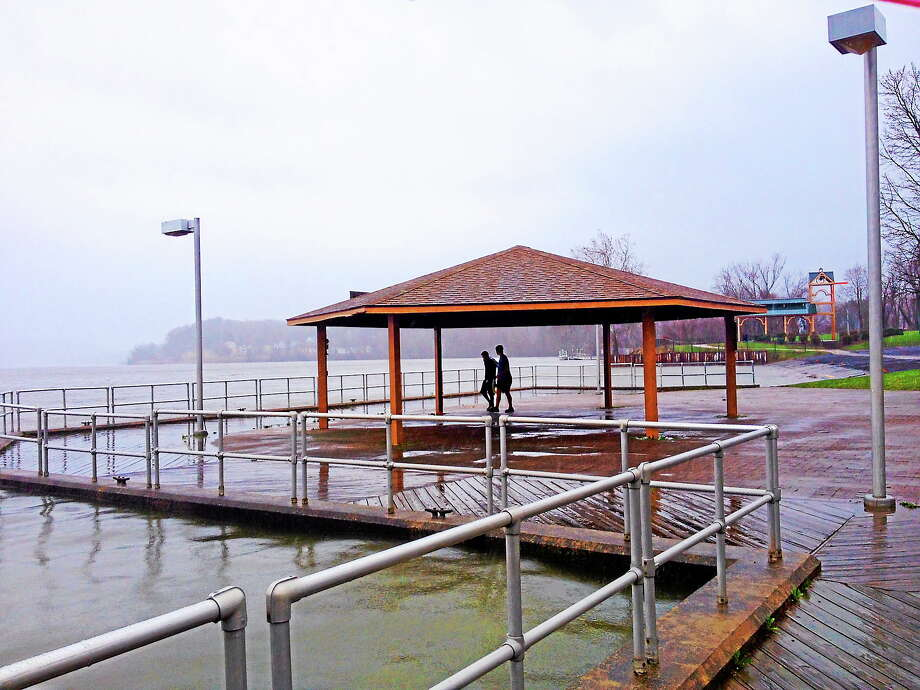 Waters rise at Harbor Park in Middletown. Photo: Cassandra Day — The Middletown Press