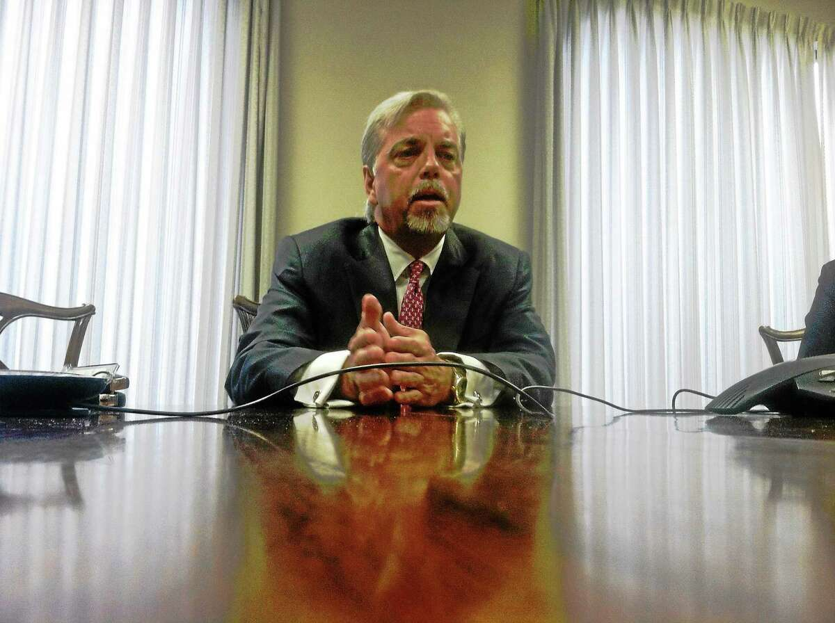 Trip Pilgrim of Tenet Healthcare speaks to the New Haven Register Editorial Board Tuesday.