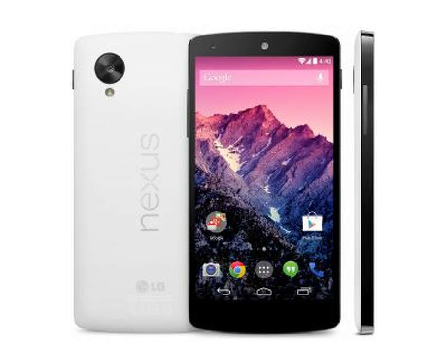 This image provided by Google shows its new Nexus 5 phone, which was unveiled Thursday, Oct. 31, 2013. The Nexus 5 phone is the first device to run on the latest version of Google's Android operating system, nicknamed after the Kit Kat candy bar. The phone and software are designed to learn and anticipate a person's interest and needs. (AP Photo/Google) Photo: AP / Google