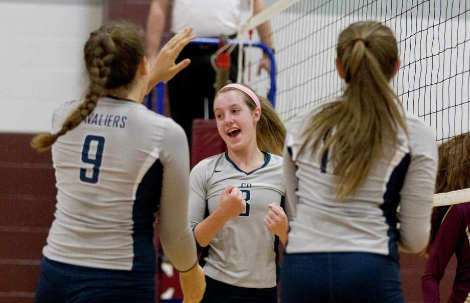 College Park's Lauren Freeman (3) celebrates a point during a match in the Cy-Fair/Katy Volleyball Classic, Thursday, Aug. 10, 2017, in Cypress. Photo: Jason Fochtman, Staff Photographer / © 2017 Houston Chronicle