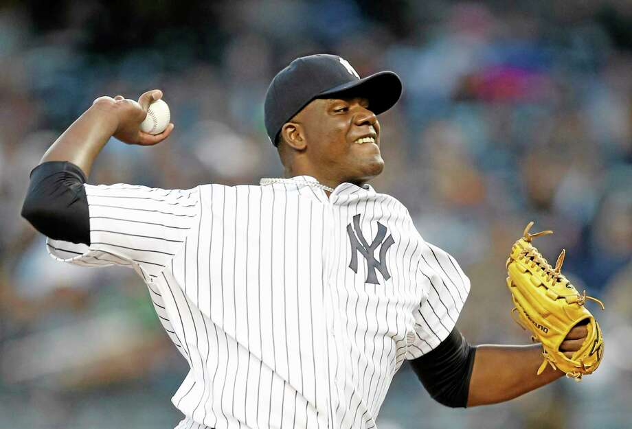 New York Yankees starting pitcher Michael Pineda delivers in the first inning of a baseball game against the Boston Red Sox at Yankee Stadium in New York, Thursday. (AP Photo/Kathy Willens) Photo: AP / AP